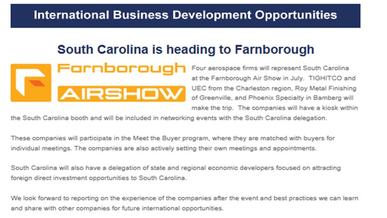 Farborough Announcement Website